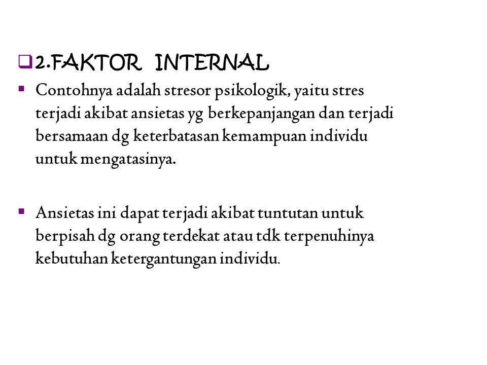  2.FAKTOR INTERNAL  Contohnya adalah stresor psikologik, yaitu stres terjadi akibat ansietas yg berkepanjangan dan terjadi bersamaan dg keterbatasan