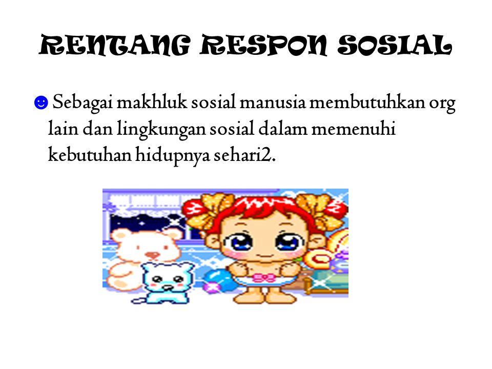 RENTANG RESPON SOSIAL ☻ Sebagai makhluk sosial manusia membutuhkan org lain dan lingkungan sosial dalam memenuhi kebutuhan hidupnya sehari2.