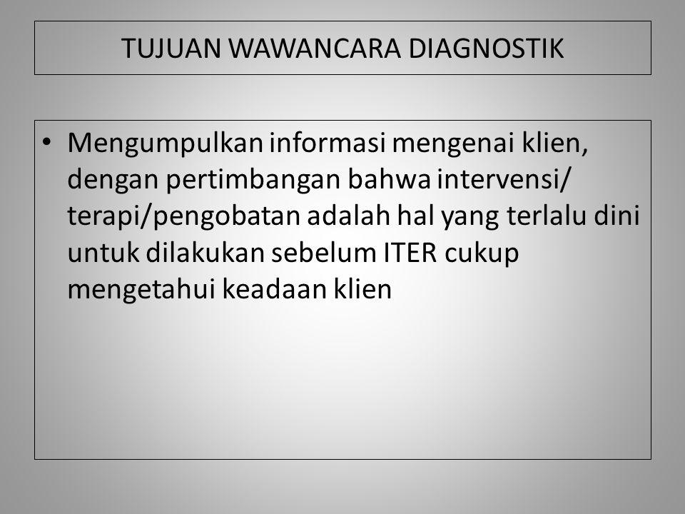 TUJUAN WAWANCARA DIAGNOSTIK Mengumpulkan informasi mengenai klien, dengan pertimbangan bahwa intervensi/ terapi/pengobatan adalah hal yang terlalu din