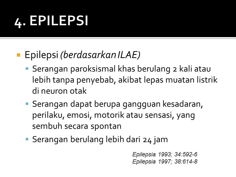  Epilepsi (berdasarkan ILAE)  Serangan paroksismal khas berulang 2 kali atau lebih tanpa penyebab, akibat lepas muatan listrik di neuron otak  Serangan dapat berupa gangguan kesadaran, perilaku, emosi, motorik atau sensasi, yang sembuh secara spontan  Serangan berulang lebih dari 24 jam Epilepsia 1993; 34:592-6 Epilepsia 1997; 38:614-8