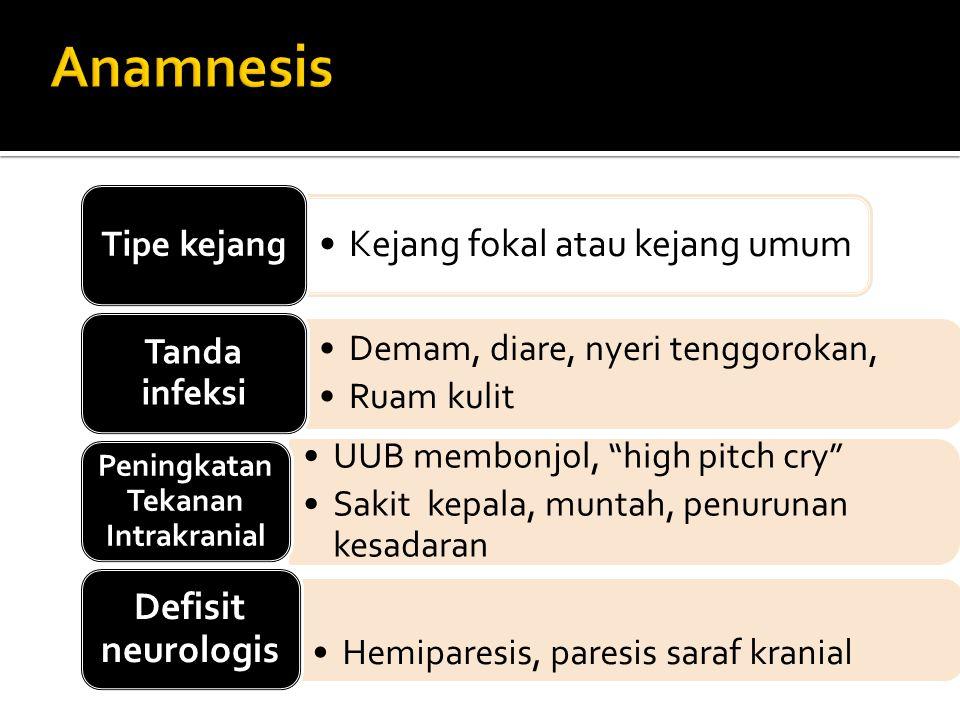 Kejang fokal atau kejang umum Tipe kejang Demam, diare, nyeri tenggorokan, Ruam kulit Tanda infeksi UUB membonjol, high pitch cry Sakit kepala, muntah, penurunan kesadaran Peningkatan Tekanan Intrakranial Hemiparesis, paresis saraf kranial Defisit neurologis