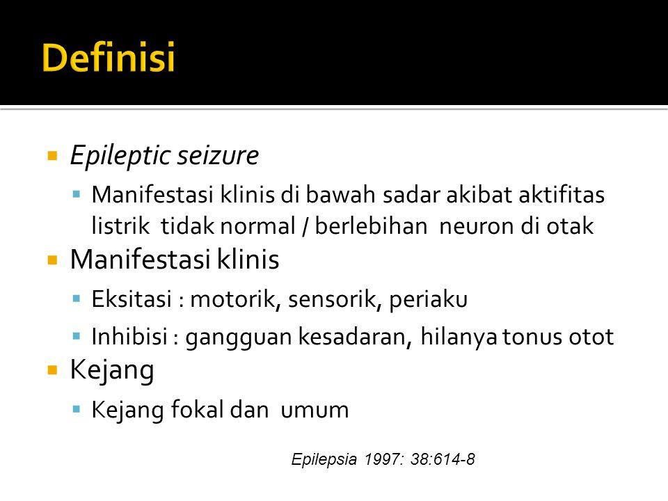  Epileptic seizure  Manifestasi klinis di bawah sadar akibat aktifitas listrik tidak normal / berlebihan neuron di otak  Manifestasi klinis  Eksitasi : motorik, sensorik, periaku  Inhibisi : gangguan kesadaran, hilanya tonus otot  Kejang  Kejang fokal dan umum Epilepsia 1997: 38:614-8