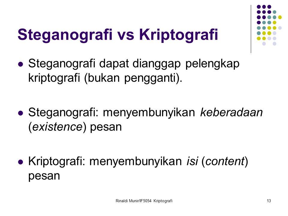Rinaldi Munir/IF5054 Kriptografi13 Steganografi vs Kriptografi Steganografi dapat dianggap pelengkap kriptografi (bukan pengganti). Steganografi: meny