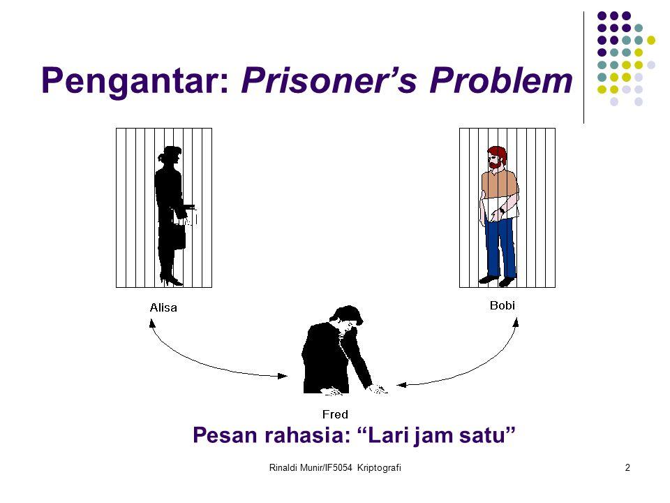 """Rinaldi Munir/IF5054 Kriptografi2 Pengantar: Prisoner's Problem Pesan rahasia: """"Lari jam satu"""""""
