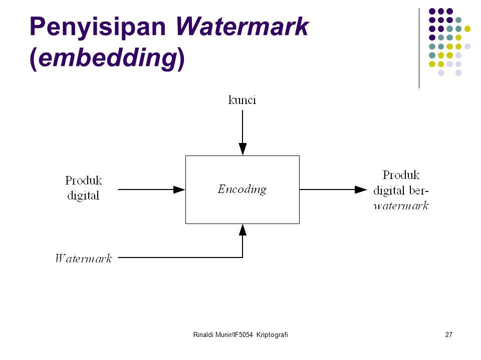 Rinaldi Munir/IF5054 Kriptografi27 Penyisipan Watermark (embedding)