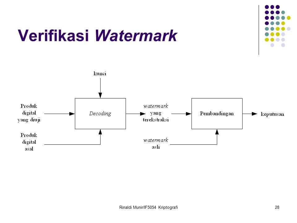 Rinaldi Munir/IF5054 Kriptografi28 Verifikasi Watermark