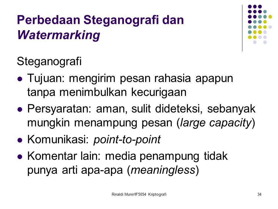 Rinaldi Munir/IF5054 Kriptografi34 Perbedaan Steganografi dan Watermarking Steganografi Tujuan: mengirim pesan rahasia apapun tanpa menimbulkan kecuri