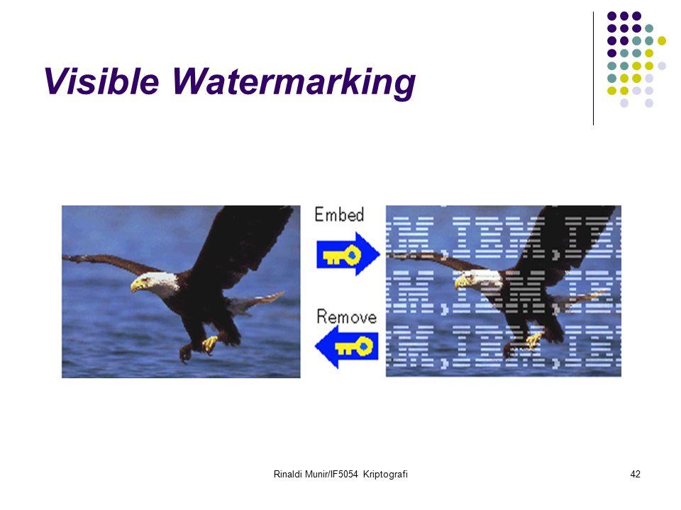 Rinaldi Munir/IF5054 Kriptografi42 Visible Watermarking