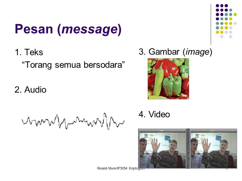 """Rinaldi Munir/IF5054 Kriptografi6 Pesan (message) 1. Teks """"Torang semua bersodara"""" 2. Audio 3. Gambar (image) 4. Video"""