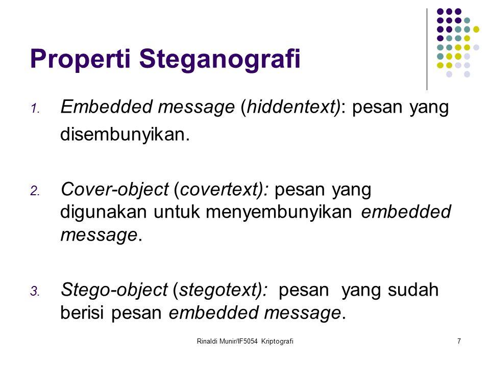 Rinaldi Munir/IF5054 Kriptografi7 Properti Steganografi 1. Embedded message (hiddentext): pesan yang disembunyikan. 2. Cover-object (covertext): pesan