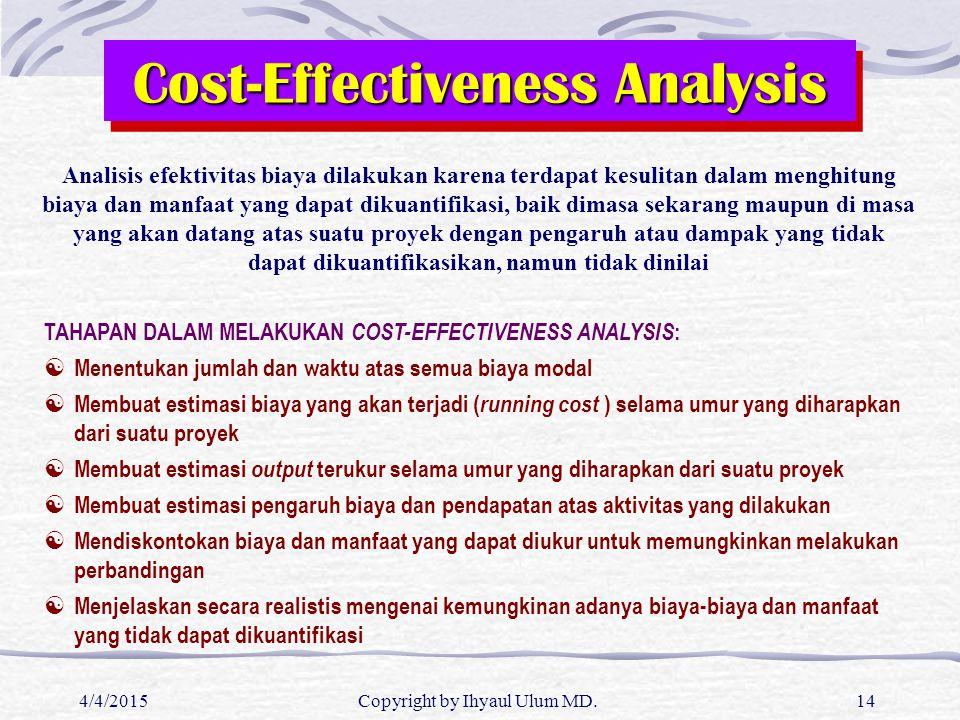 4/4/2015Copyright by Ihyaul Ulum MD.14 Cost-Effectiveness Analysis Analisis efektivitas biaya dilakukan karena terdapat kesulitan dalam menghitung bia
