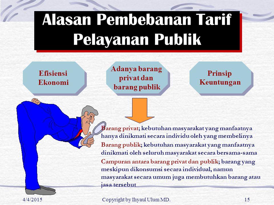 4/4/2015Copyright by Ihyaul Ulum MD.15 Alasan Pembebanan Tarif Pelayanan Publik Adanya barang privat dan barang publik Adanya barang privat dan barang