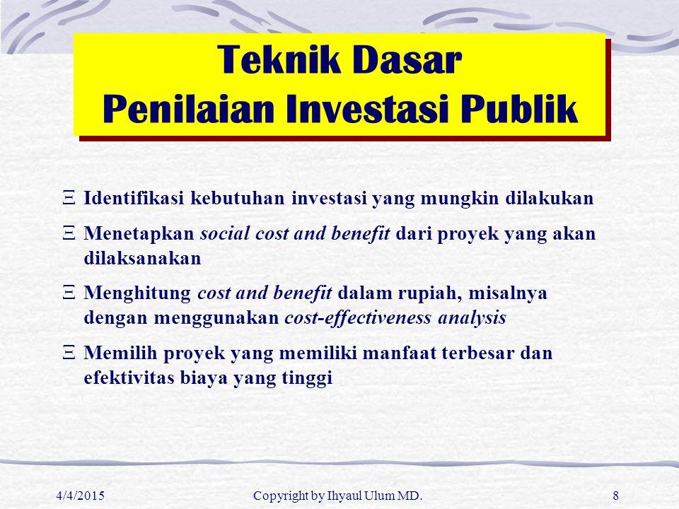 4/4/2015Copyright by Ihyaul Ulum MD.8 Teknik Dasar Penilaian Investasi Publik XIdentifikasi kebutuhan investasi yang mungkin dilakukan XMenetapkan soc