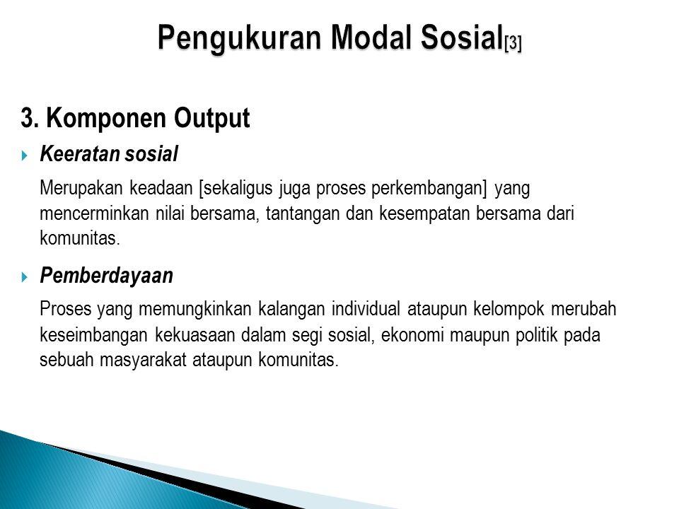 3. Komponen Output  Keeratan sosial Merupakan keadaan [sekaligus juga proses perkembangan] yang mencerminkan nilai bersama, tantangan dan kesempatan