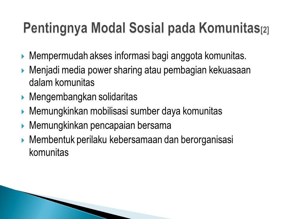  Mempermudah akses informasi bagi anggota komunitas.  Menjadi media power sharing atau pembagian kekuasaan dalam komunitas  Mengembangkan solidarit