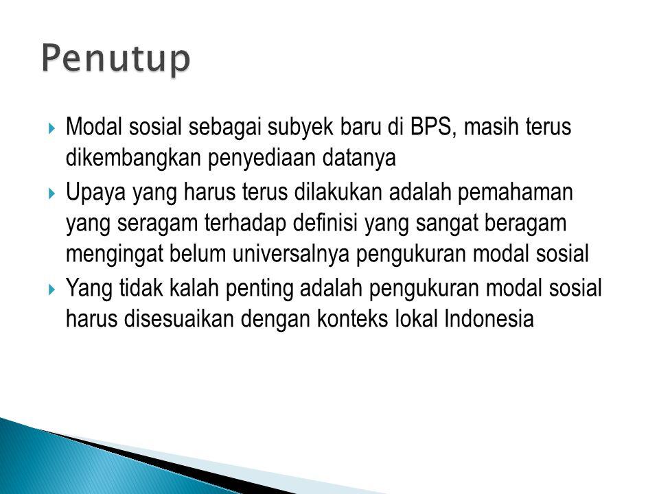  Modal sosial sebagai subyek baru di BPS, masih terus dikembangkan penyediaan datanya  Upaya yang harus terus dilakukan adalah pemahaman yang seraga