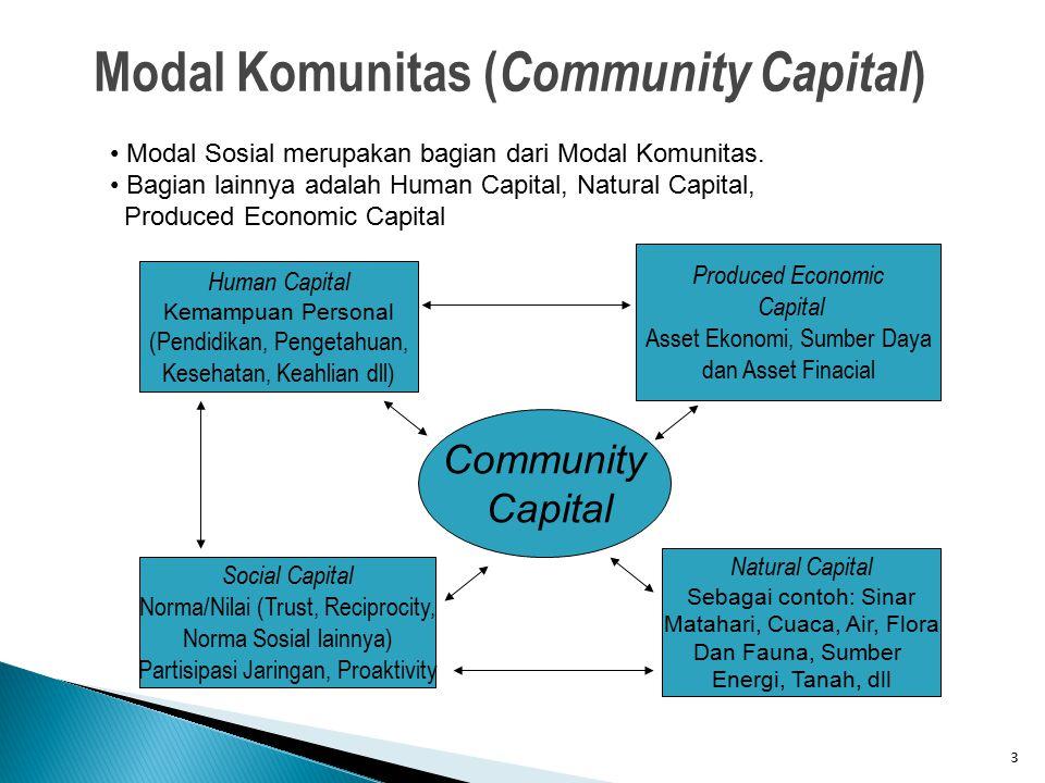 3 Modal Komunitas ( Community Capital ) Modal Sosial merupakan bagian dari Modal Komunitas. Bagian lainnya adalah Human Capital, Natural Capital, Prod