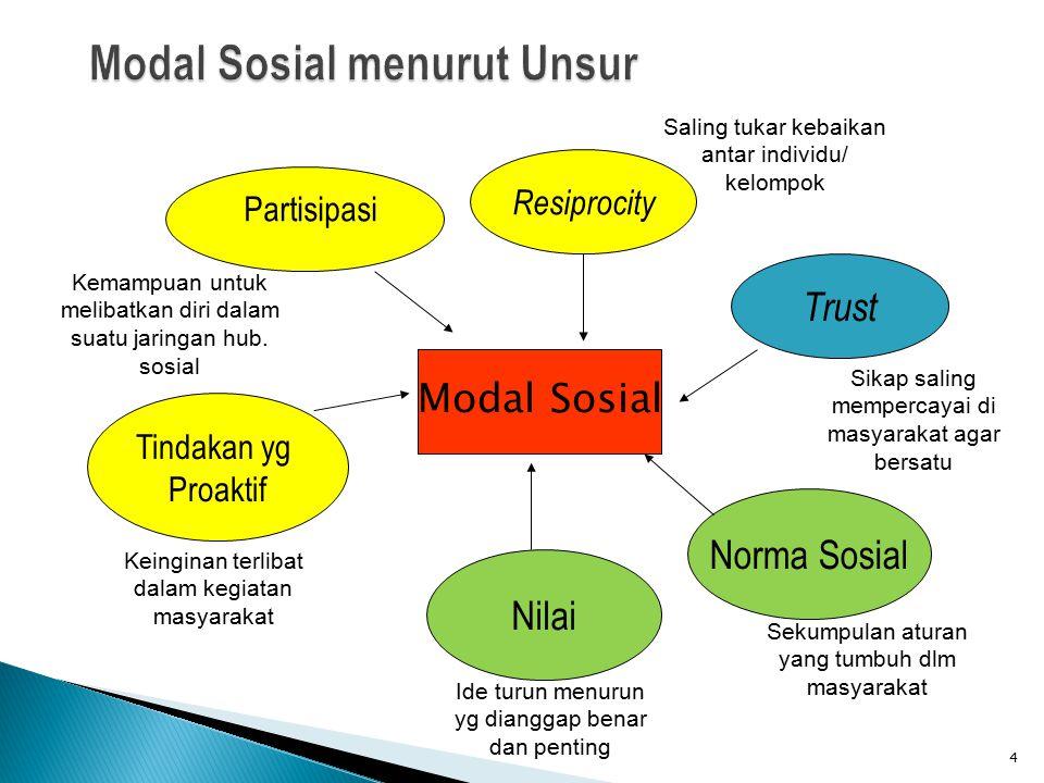 Partisipasi 4 Modal Sosial Resiprocity Trust Norma Sosial Nilai Tindakan yg Proaktif Kemampuan untuk melibatkan diri dalam suatu jaringan hub. sosial