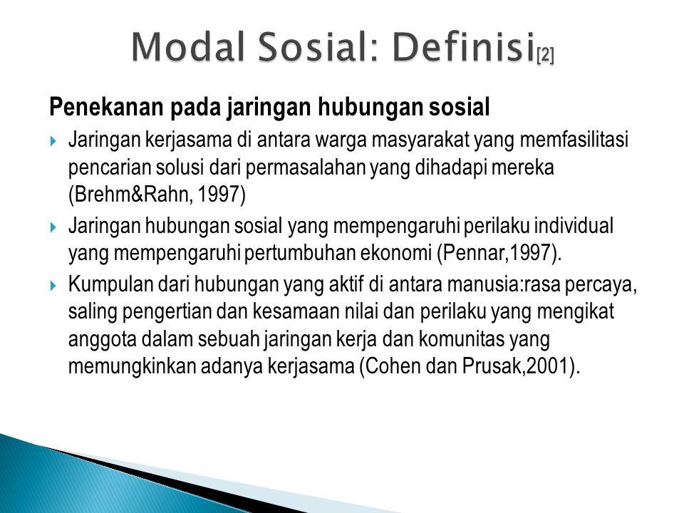 Penekanan pada jaringan hubungan sosial  Jaringan kerjasama di antara warga masyarakat yang memfasilitasi pencarian solusi dari permasalahan yang dih