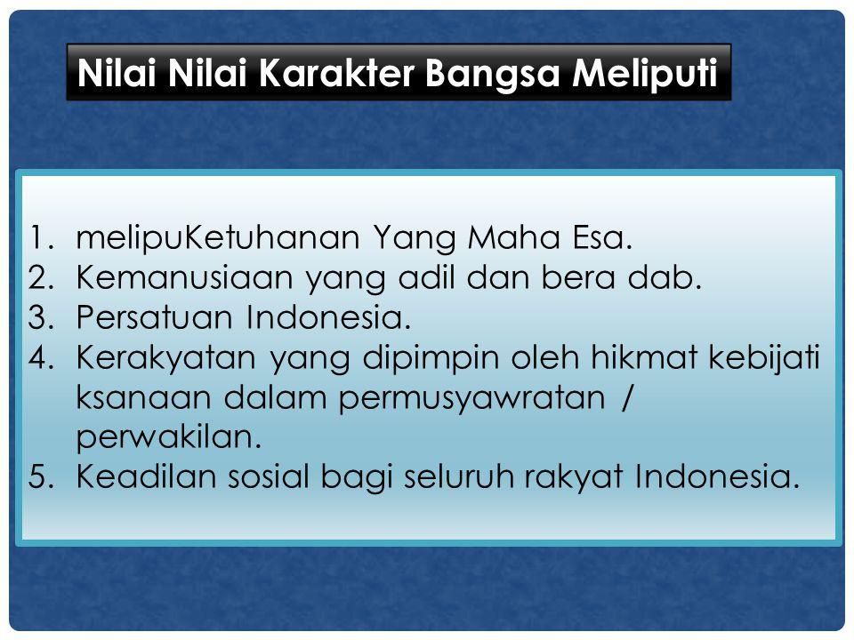 1.melipuKetuhanan Yang Maha Esa. 2.Kemanusiaan yang adil dan bera dab. 3.Persatuan Indonesia. 4.Kerakyatan yang dipimpin oleh hikmat kebijati ksanaan