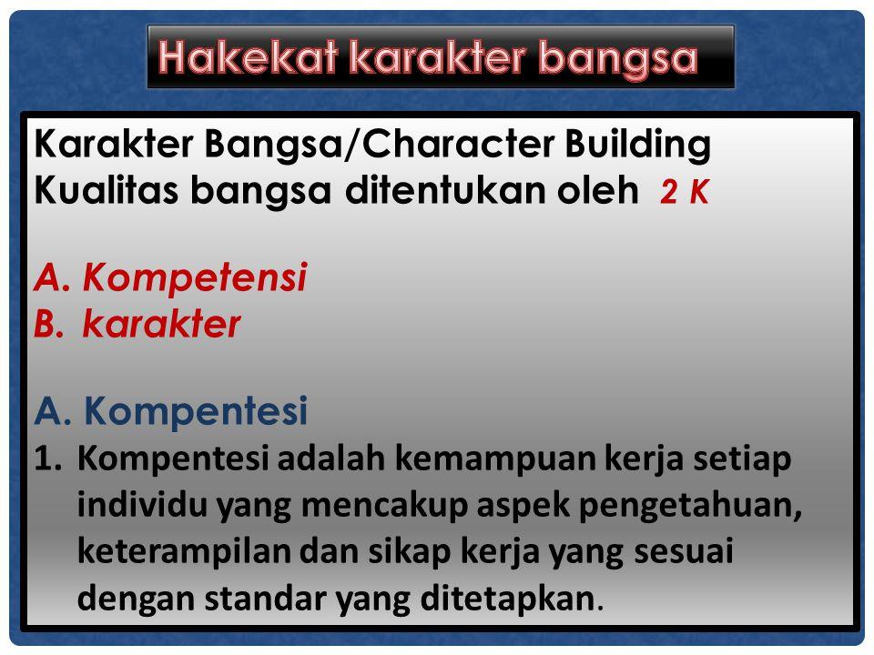 Karakter Bangsa/Character Building Kualitas bangsa ditentukan oleh 2 K A.Kompetensi B.karakter A. Kompentesi 1.Kompentesi adalah kemampuan kerja setia