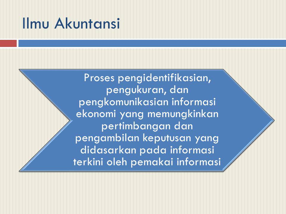 Ilmu Akuntansi Proses pengidentifikasian, pengukuran, dan pengkomunikasian informasi ekonomi yang memungkinkan pertimbangan dan pengambilan keputusan yang didasarkan pada informasi terkini oleh pemakai informasi