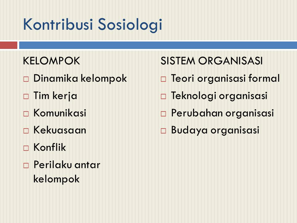 Kontribusi Sosiologi KELOMPOK  Dinamika kelompok  Tim kerja  Komunikasi  Kekuasaan  Konflik  Perilaku antar kelompok SISTEM ORGANISASI  Teori organisasi formal  Teknologi organisasi  Perubahan organisasi  Budaya organisasi