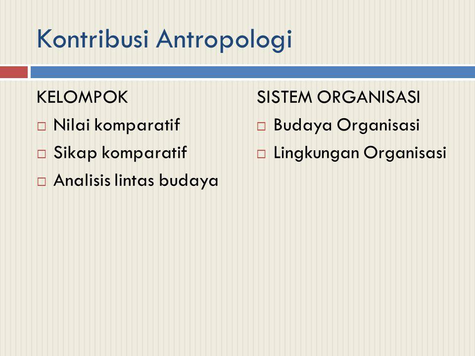 Kontribusi Antropologi KELOMPOK  Nilai komparatif  Sikap komparatif  Analisis lintas budaya SISTEM ORGANISASI  Budaya Organisasi  Lingkungan Organisasi