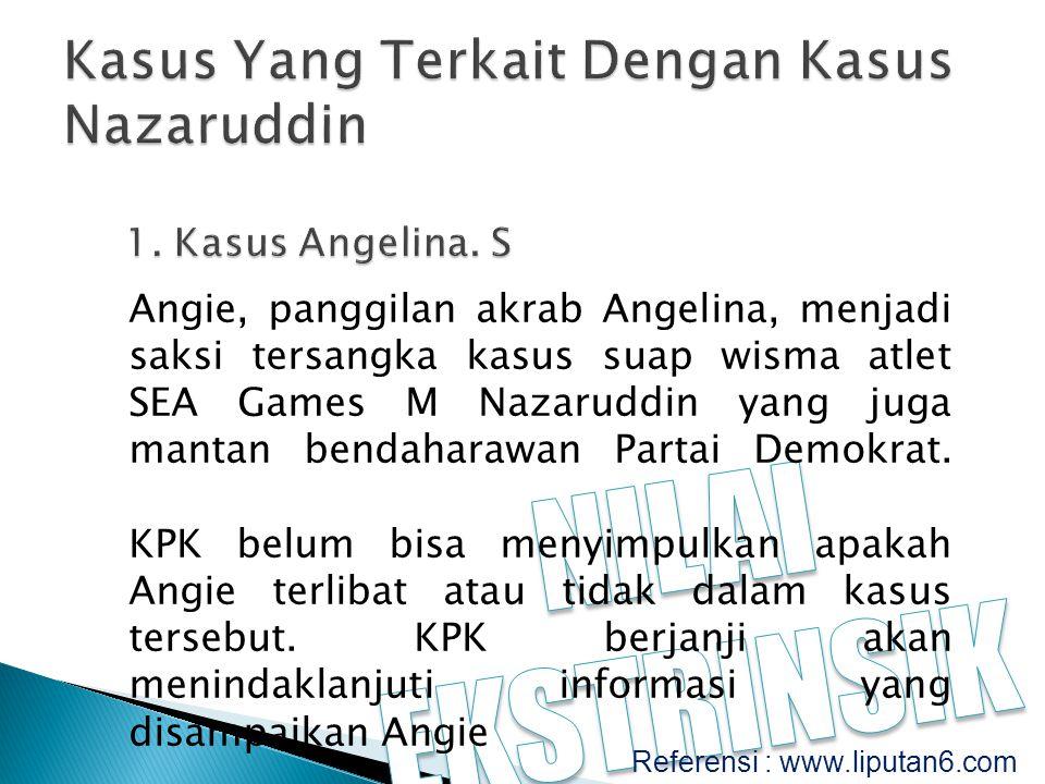 Angie, panggilan akrab Angelina, menjadi saksi tersangka kasus suap wisma atlet SEA Games M Nazaruddin yang juga mantan bendaharawan Partai Demokrat.