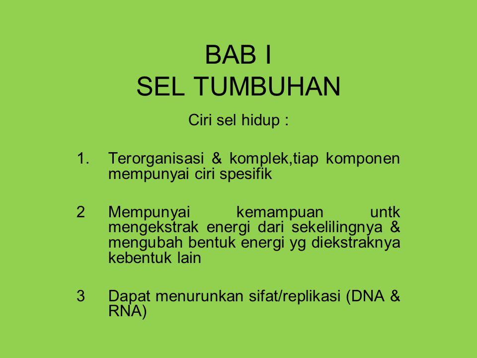 BAB I SEL TUMBUHAN Ciri sel hidup : 1.Terorganisasi & komplek,tiap komponen mempunyai ciri spesifik 2Mempunyai kemampuan untk mengekstrak energi dari