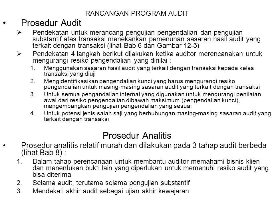 RANCANGAN PROGRAM AUDIT Prosedur Audit  Pendekatan untuk merancang pengujian pengendalian dan pengujian substantif atas transaksi menekankan pemenuha