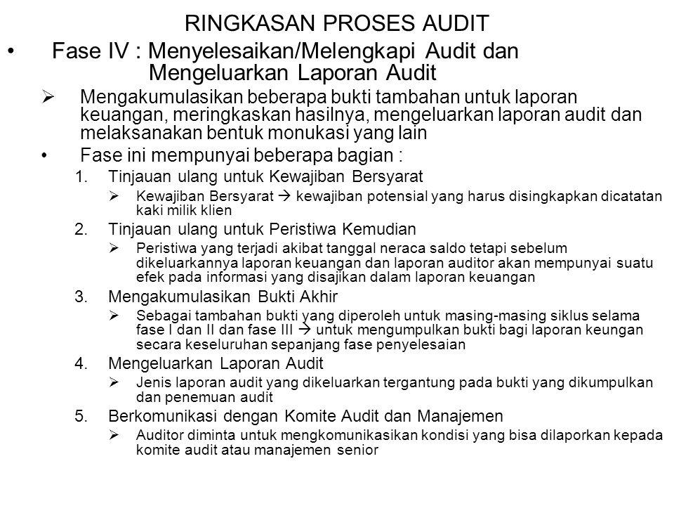 RINGKASAN PROSES AUDIT Fase IV : Menyelesaikan/Melengkapi Audit dan Mengeluarkan Laporan Audit  Mengakumulasikan beberapa bukti tambahan untuk lapora