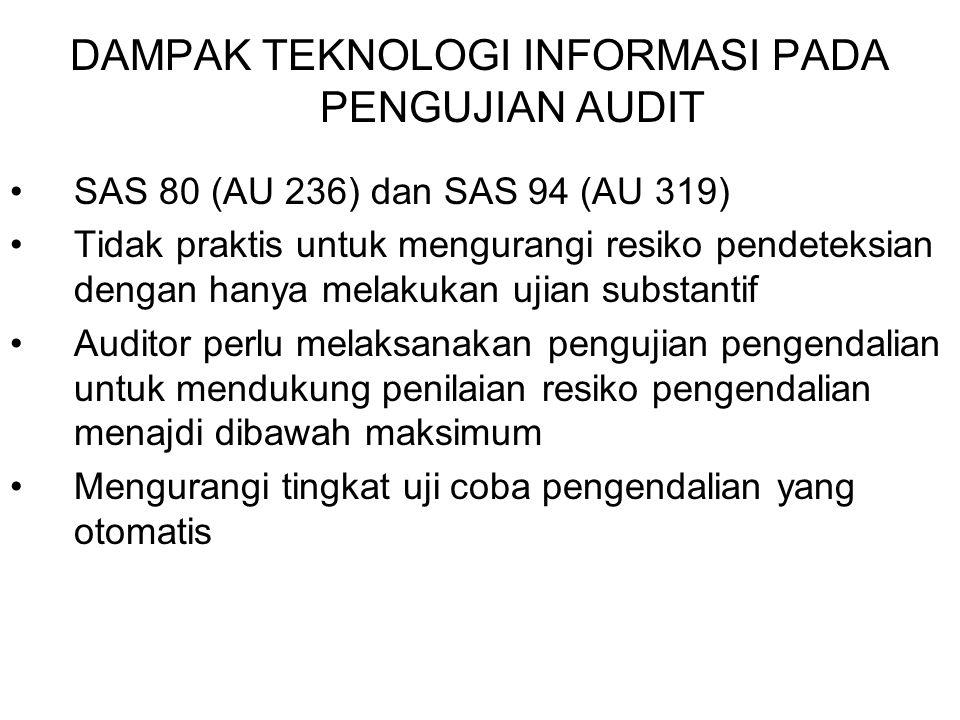 DAMPAK TEKNOLOGI INFORMASI PADA PENGUJIAN AUDIT SAS 80 (AU 236) dan SAS 94 (AU 319) Tidak praktis untuk mengurangi resiko pendeteksian dengan hanya me