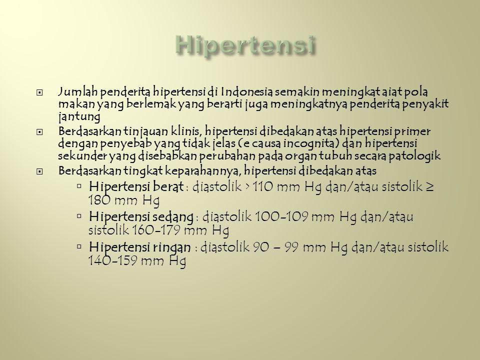  Jumlah penderita hipertensi di Indonesia semakin meningkat aiat pola makan yang berlemak yang berarti juga meningkatnya penderita penyakit jantung  Berdasarkan tinjauan klinis, hipertensi dibedakan atas hipertensi primer dengan penyebab yang tidak jelas (e causa incognita) dan hipertensi sekunder yang disebabkan perubahan pada organ tubuh secara patologik  Berdasarkan tingkat keparahannya, hipertensi dibedakan atas  Hipertensi berat : diastolik > 110 mm Hg dan/atau sistolik ≥ 180 mm Hg  Hipertensi sedang : diastolik 100-109 mm Hg dan/atau sistolik 160-179 mm Hg  Hipertensi ringan : diastolik 90 – 99 mm Hg dan/atau sistolik 140-159 mm Hg
