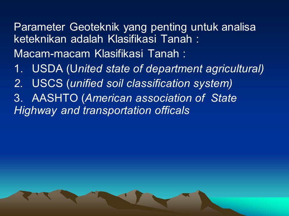 Parameter Geoteknik yang penting untuk analisa keteknikan adalah Klasifikasi Tanah : Macam-macam Klasifikasi Tanah : 1. USDA (United state of departme