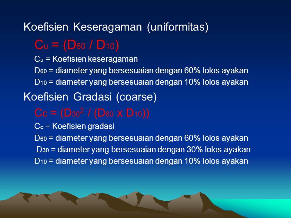 Koefisien Keseragaman (uniformitas) C u = (D 60 / D 10 ) C u = Koefisien keseragaman D 60 = diameter yang bersesuaian dengan 60% lolos ayakan D 10 = d