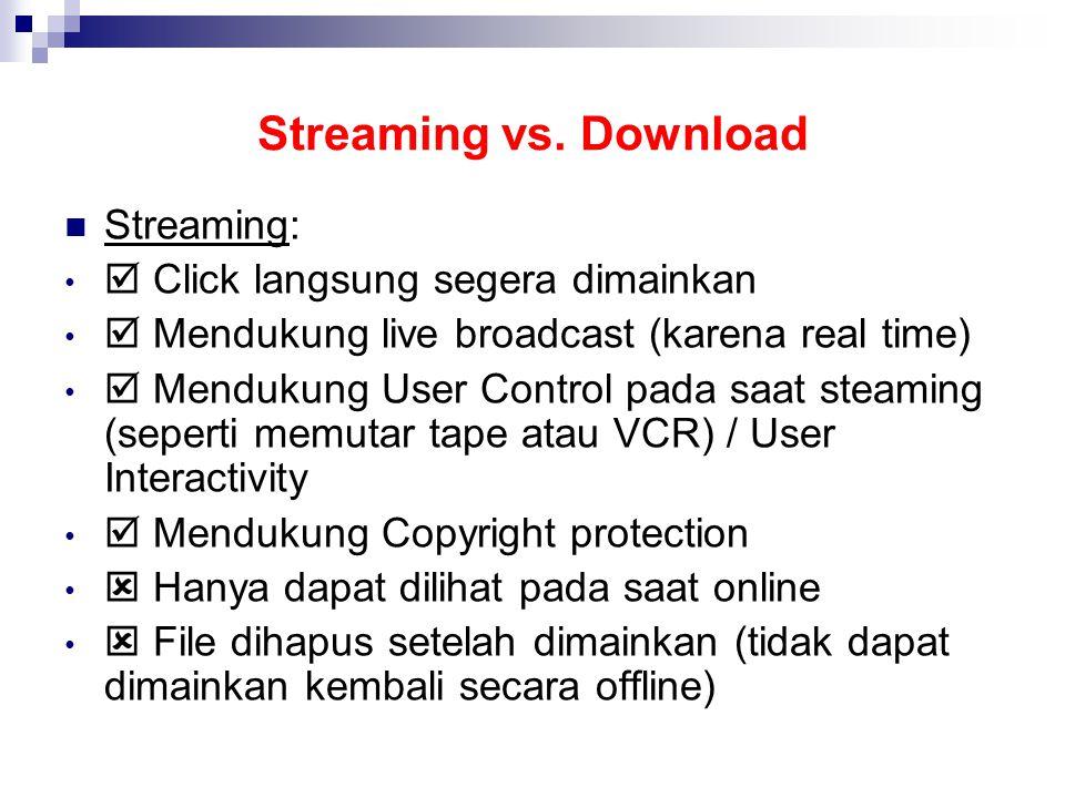 Streaming vs. Download Streaming:  Click langsung segera dimainkan  Mendukung live broadcast (karena real time)  Mendukung User Control pada saat s