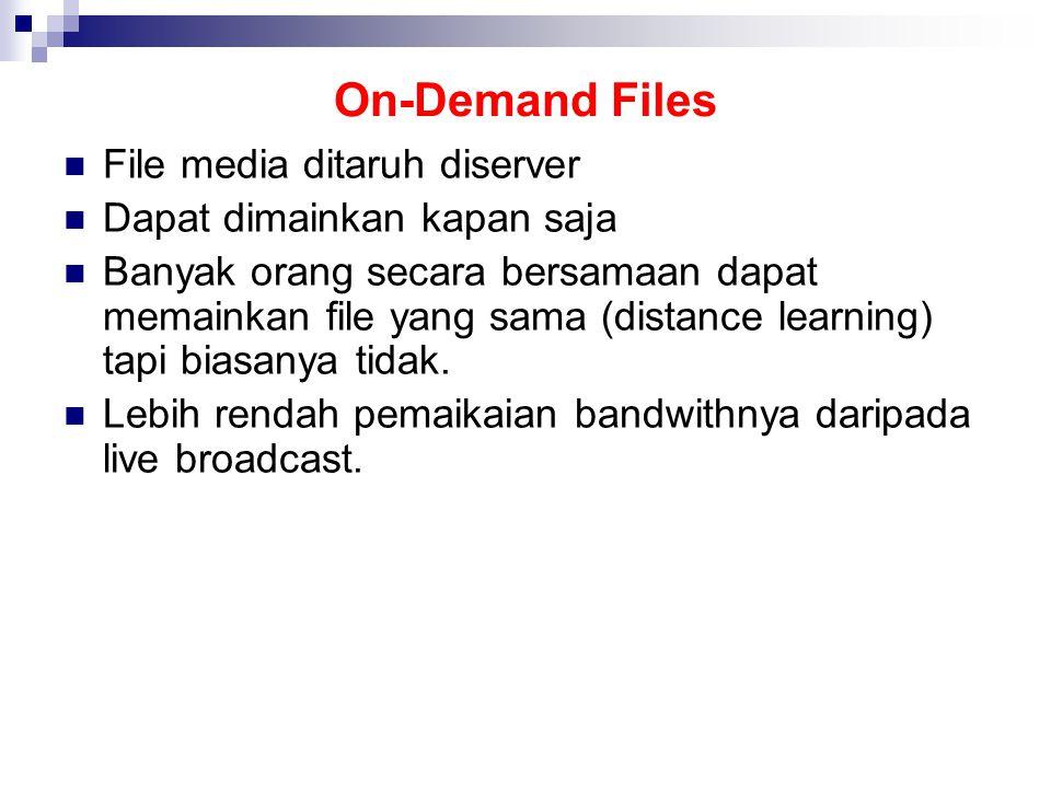 On-Demand Files File media ditaruh diserver Dapat dimainkan kapan saja Banyak orang secara bersamaan dapat memainkan file yang sama (distance learning) tapi biasanya tidak.
