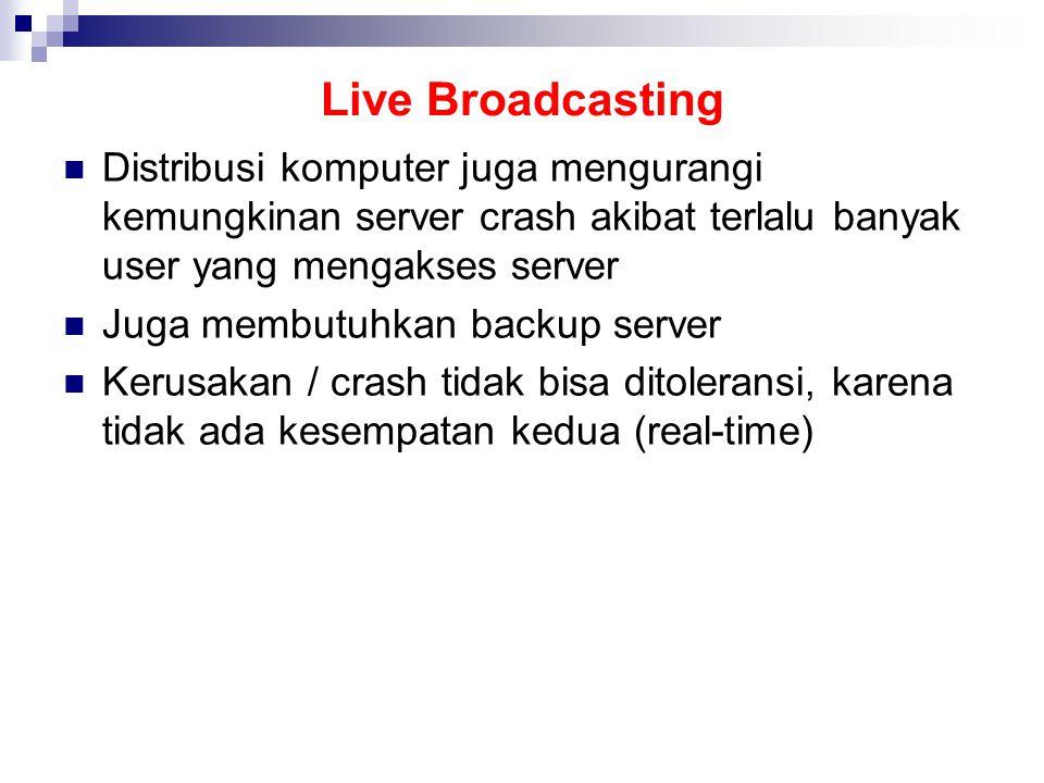 Live Broadcasting Distribusi komputer juga mengurangi kemungkinan server crash akibat terlalu banyak user yang mengakses server Juga membutuhkan backup server Kerusakan / crash tidak bisa ditoleransi, karena tidak ada kesempatan kedua (real-time)