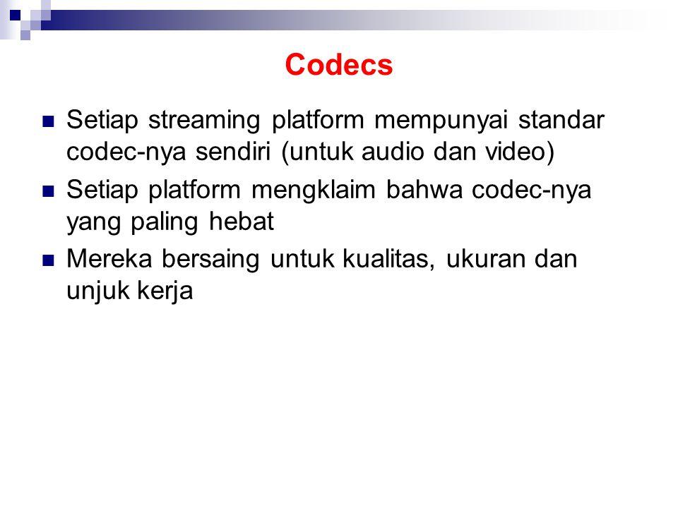 Codecs Setiap streaming platform mempunyai standar codec-nya sendiri (untuk audio dan video) Setiap platform mengklaim bahwa codec-nya yang paling hebat Mereka bersaing untuk kualitas, ukuran dan unjuk kerja