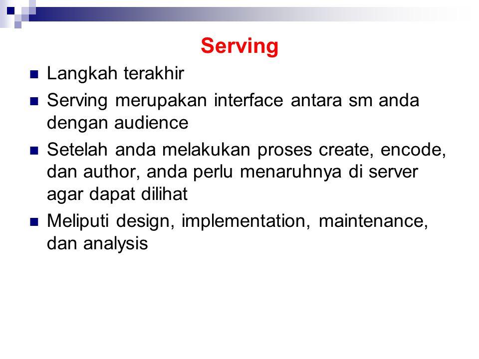 Serving Langkah terakhir Serving merupakan interface antara sm anda dengan audience Setelah anda melakukan proses create, encode, dan author, anda perlu menaruhnya di server agar dapat dilihat Meliputi design, implementation, maintenance, dan analysis