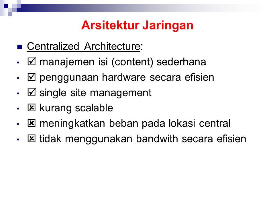 Arsitektur Jaringan Centralized Architecture:  manajemen isi (content) sederhana  penggunaan hardware secara efisien  single site management  kurang scalable  meningkatkan beban pada lokasi central  tidak menggunakan bandwith secara efisien