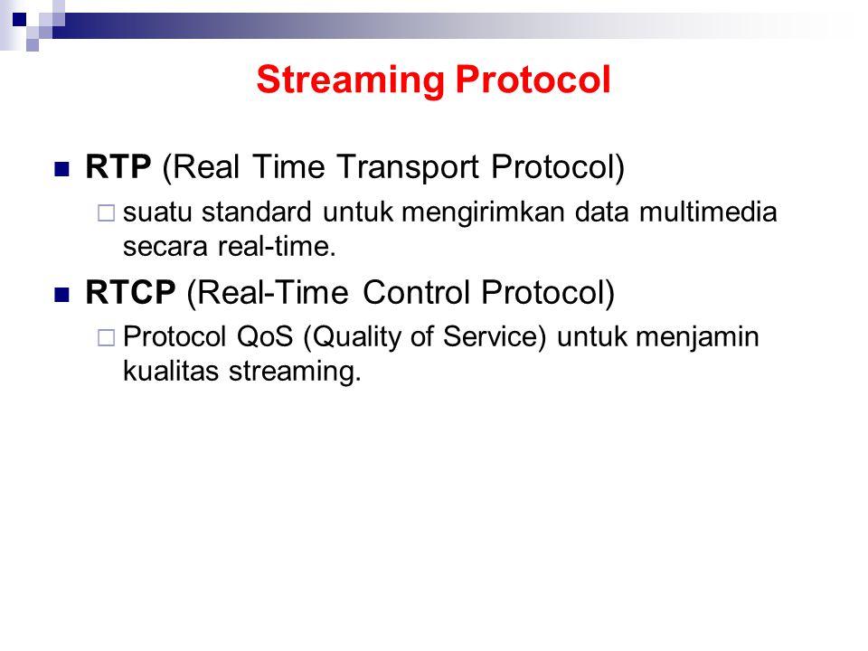 Streaming Protocol RTP (Real Time Transport Protocol)  suatu standard untuk mengirimkan data multimedia secara real-time.