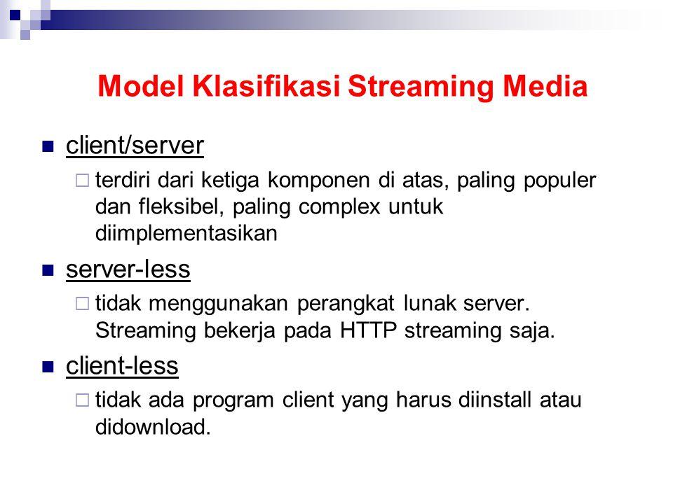 Model Klasifikasi Streaming Media client/server  terdiri dari ketiga komponen di atas, paling populer dan fleksibel, paling complex untuk diimplementasikan server-less  tidak menggunakan perangkat lunak server.