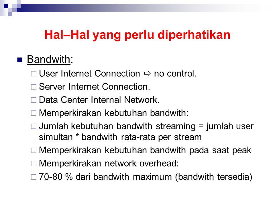 Hal–Hal yang perlu diperhatikan Bandwith:  User Internet Connection  no control.