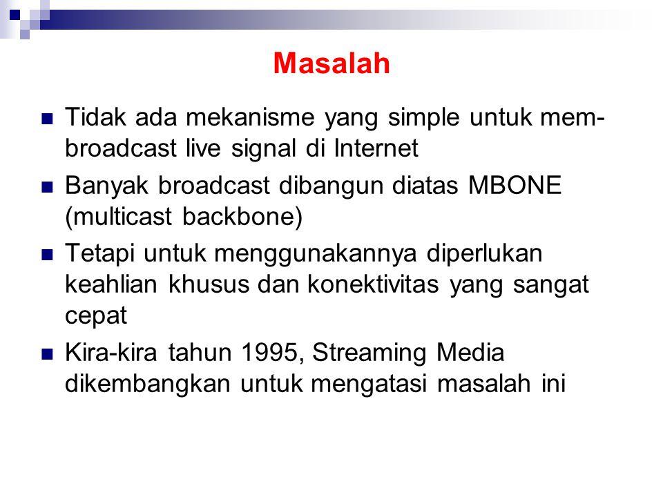 Masalah Tidak ada mekanisme yang simple untuk mem- broadcast live signal di Internet Banyak broadcast dibangun diatas MBONE (multicast backbone) Tetapi untuk menggunakannya diperlukan keahlian khusus dan konektivitas yang sangat cepat Kira-kira tahun 1995, Streaming Media dikembangkan untuk mengatasi masalah ini