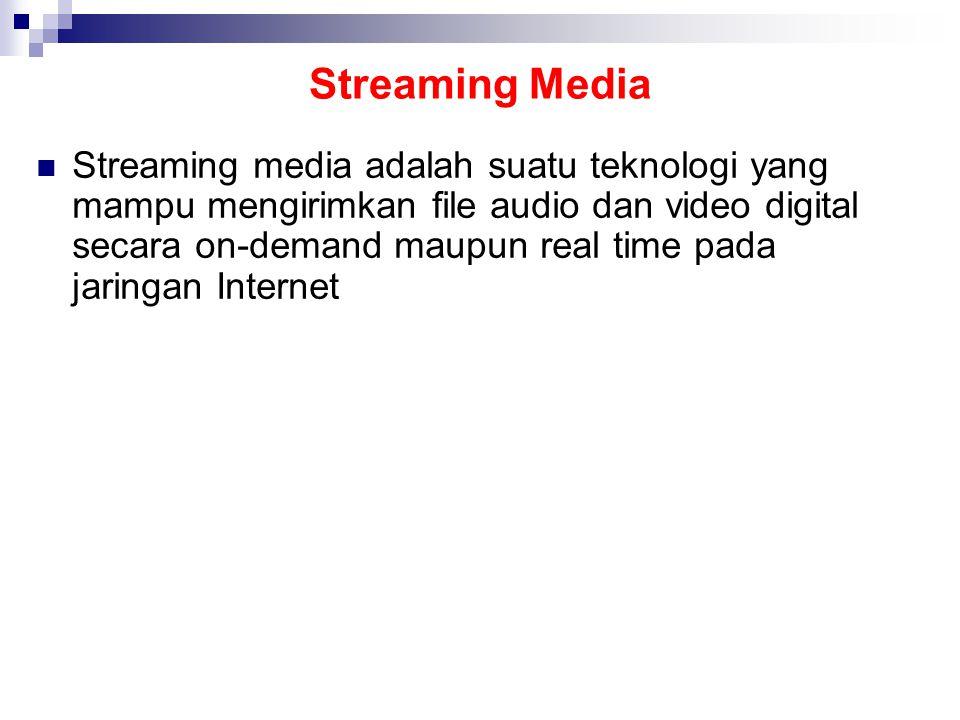 Streaming Media Streaming media adalah suatu teknologi yang mampu mengirimkan file audio dan video digital secara on-demand maupun real time pada jaringan Internet