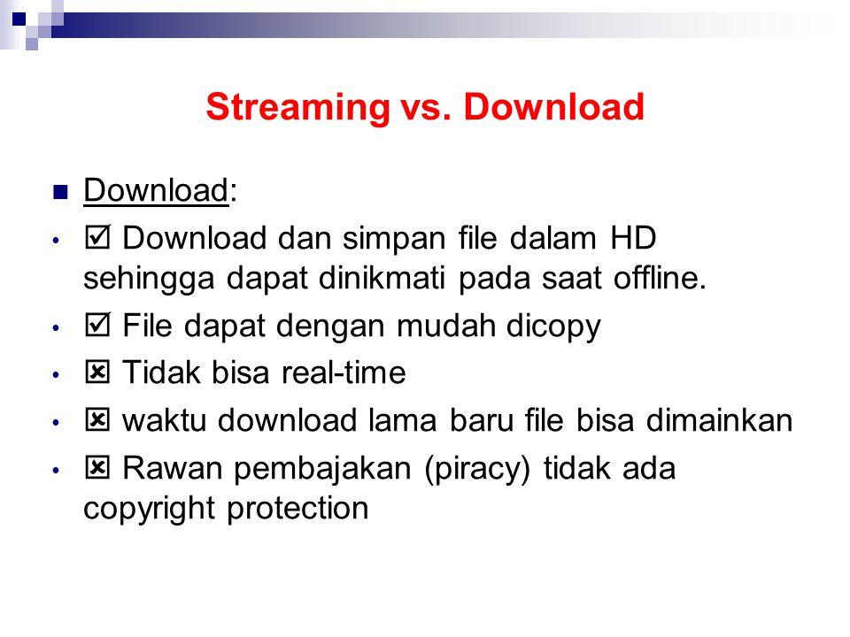 Streaming vs. Download Download:  Download dan simpan file dalam HD sehingga dapat dinikmati pada saat offline.  File dapat dengan mudah dicopy  Ti