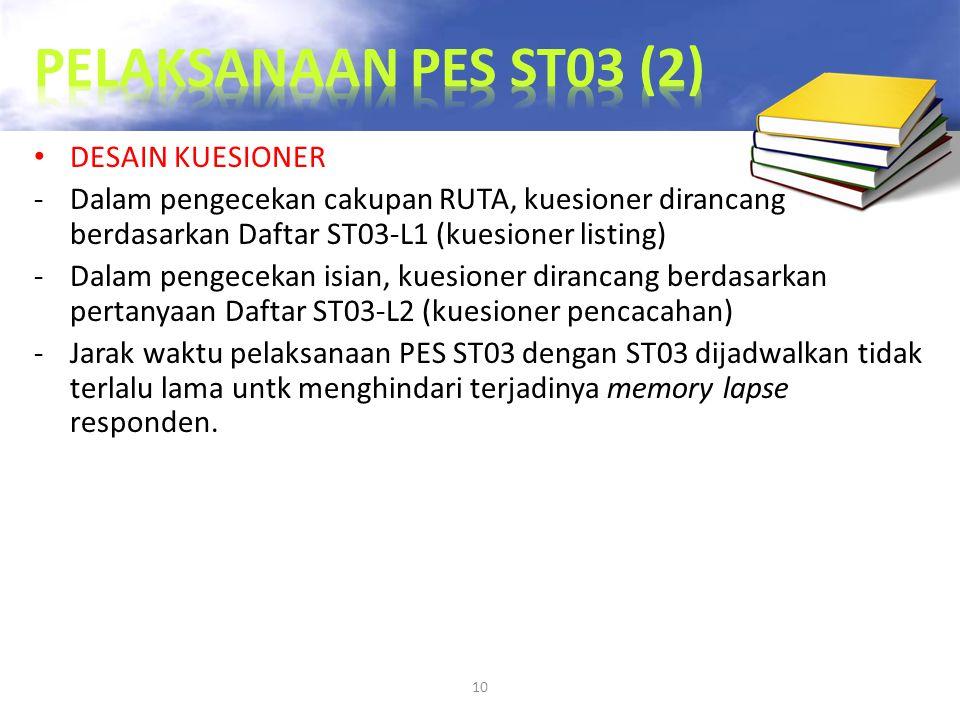 10 DESAIN KUESIONER -Dalam pengecekan cakupan RUTA, kuesioner dirancang berdasarkan Daftar ST03-L1 (kuesioner listing) -Dalam pengecekan isian, kuesio