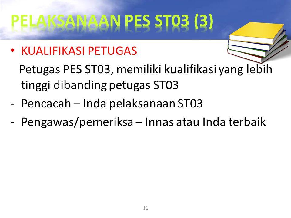 11 KUALIFIKASI PETUGAS Petugas PES ST03, memiliki kualifikasi yang lebih tinggi dibanding petugas ST03 -Pencacah – Inda pelaksanaan ST03 -Pengawas/pem